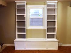 How to Build a Window Bench With Shelving Build a window seat with side shelving for extra storage space with these simple step-by-step instructions from DIY Network's Kitchen Impossible. @Yasmin Rosales