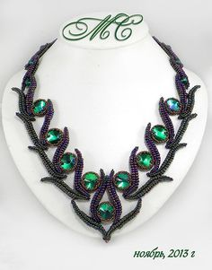 seed bead necklace with rivolis