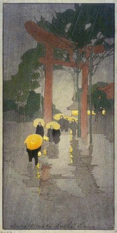 hanga gallery . . . torii gallery: Temple Gate by Bertha Lum