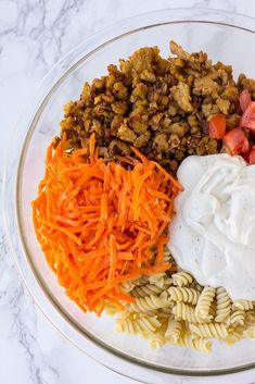 Bacon Ranch Vegan Pasta Salad: a quick, easy and creamy pasta salad with tempeh bacon crumbles, carrots, tomatoes and black olives all tossed together with cashew ranch dressing! Creamy Pasta Salads, Tempeh Bacon, Bbq, Potluck Dishes, Vegan Pasta, Ranch Dressing, Carrots, Vegetarian, Ethnic Recipes
