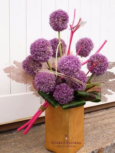 Arrangement composed of allium, sea fans, ti leaves, mitsumatchu sticks, and mindolini Table Arrangements, Floral Arrangements, Flower Arrangement, Flower Quotes, Allium, Flower Art, Flower Ideas, Flower Delivery, Love Flowers