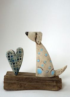 Made By Hand Online - Ceramic Sitting Dog and Heart by Shirley Vauvelle at madebyhandonline