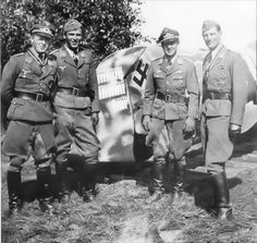 Four Luftwaffe pilots who have all just been decorated with the Iron Cross.