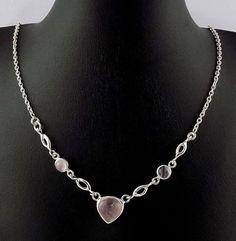 "Natural Rose Pink Quartz Gemstone Cabochon 925 Sterling Silver Necklace 18""Long #RaAgarw"