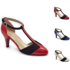 aa456590ab Color Closeout Colorblock T-Strap Pumps by EY Boutique Womens Clearance