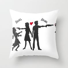 Zombie Hunting Throw Pillow by KristinMillerArt - $20.00