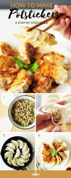Potstickers are one of the classics in Chinese cuisine. They also make a wonderful, healthy freezer meal for a whole family. Here's a step-by-step guide to homemade potstickers. Healthy Chinese Recipes, Asian Recipes, Gourmet Recipes, Appetizer Recipes, Cooking Recipes, Healthy Recipes, Ethnic Recipes, Cooking 101, Asian Foods