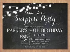 Surprise 70th Birthday Invitation. Chalkboard 30th 40th 50th 60th 80th Any Age…