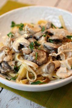 Chicken and Mushroom Fettuccine  saute butter & mushrooms then garlic. add white wine & reduce. add milk, Bill to thicken. add fresh herbs & sour cream (& parm if desired)