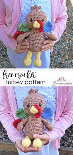 Kostenlose Crochet Turkey Pattern - Grace and Yarn - Amigurumi , Crochet , Knitting Thanksgiving Crochet, Crochet Fall, Cute Crochet, Crochet Crafts, Crochet Projects, Crochet Roses, Crochet Monkey, Crochet Birds, Crocheted Flowers