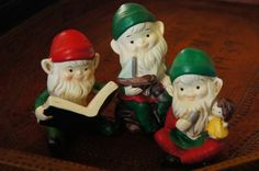 Vintage 70s 80s Porcelain Gnome Elfs Figurines by SycamoreVintage
