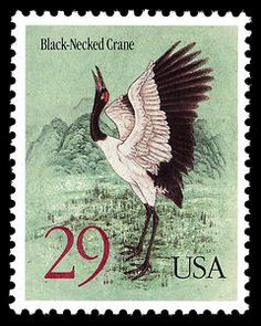 The United States Postal Service and the People's Republic of China marked World Post Day with the issuance of two 29-cent commemorative stamps on October 9, 1994, in Washington, DC, and Beijing, China. The stamps feature two endangered species, the Black-Necked Crane of Asia and the Whooping Crane of North America. These birds symbolize peace and friendship.