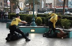 Las Vegas Metro Police - patrolling on foot - yellow t-shirt and dark cargo shorts or pants. Las Vegas Images, Metro Police, Police Patrol, Yellow T Shirt, Shorts, Dark, Summer, Pants, Trouser Pants