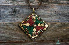 Green Pendant, Red Pendant, Brass Pendant, Malachite Pendant, Boho, Coral,Ethnic…