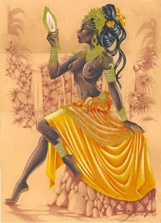 "divinemoon: "" ~ In Oshun's River by Becca Tzigany ~ Iba Oshun olodi! Praises to Orisha of the River! Spirit, clean me inside out Flush through my veins till I'm flowing Revive my body from a lonely. Black Girl Art, Black Women Art, Black Art, Art Girl, Oshun Goddess, Pinup, Orishas Yoruba, Yoruba Religion, African Goddess"