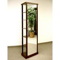 Full Length Standing Mirror with Coat Rack & Shelving (Great for a guest room).  From www.halltrees.com