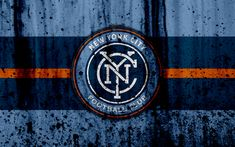 Download wallpapers 4k, FC New York City, grunge, MLS, art, Eastern Conference, football club, USA, New York City, soccer, stone texture, NY City, logo, New York City FC