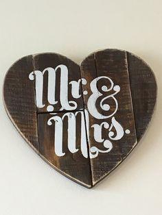Reclaimed wood pallet heart rustic Mr & Mrs by WickedGoodGoods
