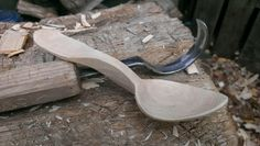 Tom Bartlett: hand carved traditional Welsh dolphin spoon, carved from purple plum.