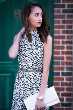 Pressing Flowers Blog | Alexandra Lee Photography | LOFT snow leopard dress, white clutch, glitter belt. Spring outfit 2015