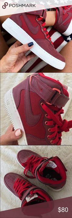 NEW 😍 AIR FORCE 1 MID TOP New never worn 😍 NIKE AIR FORCE ONE PREMIUM MID TOP. ONE PAIR AVAILABLE.  📍ORDER YOUR WOMANS SHOE SIZE📍 Size 6.5 youth approx = 8 women  Ships same or next day, NO ORIGINAL BOX, smoke free home.  PRICE IS FIRM. 100% authentic purchased directly from NIKE ❤️ Nike Shoes Athletic Shoes
