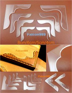 Details about Leather Craft Acrylic Bag Wallet Corner Decoration Pattern Stencil Template Leather Wallet Pattern, Sewing Leather, Leather Craft, Leather Working Patterns, Leather Working Tools, Leather Carving, Leather Tooling, Leather Gifts, Leather Jewelry