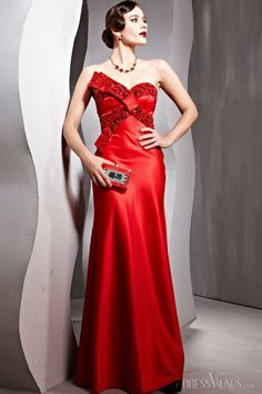 Charming A-line Sweetheart Floor-length Beading Evening Party Dress.