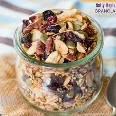 Nutty Maple Granola doesn't skimp on the nuts, plus it has yummy oats, seed, cinnamon, and just the right amount of maple-y sweetness for a healthy breakfast or snack that's also gluten free and vegan.
