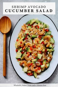 This Shrimp Avocado Cucumber Salad is loaded with red onions cucumber red bell peppers avocado and sautéd shrimp. Also its tossed with a very light and fresh lemon dressing. Avocado Recipes, Healthy Salad Recipes, Lunch Recipes, Seafood Recipes, Dinner Recipes, Whole30 Recipes, Fish Recipes, Korean Recipes, Ketogenic Recipes