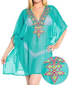 La Leela Chiffon Women Tunic Deep V Neck Embroidered Swim Bikini Cover Up Blue Valentines Day Gifts 2017 ** To view further for this item, visit the image link. Bathing Suit Cover Up, Bikini Cover Up, Swimsuit Cover, Bathing Suits, Women Tunic, Maternity Swimwear, Beach Cover Ups, Woman Beach, Beachwear