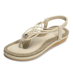 2f6bffb56540 Handmade Knitting Clip Toe Elastic Flat Sandals Sandals For Sale
