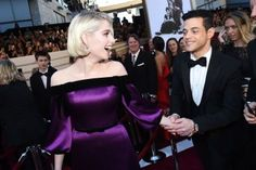 Rami Malek & Lucy Boynton Kissed from the Front Row of the Oscars & It Was So Cute Rami Said Malek, Rami Malek, Lucy Boynton, Violet Dresses, Old Hollywood Glam, Freddie Mercury, Celebrity Couples, My Crush, Best Actor