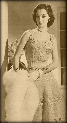 Lace EVENING DRESS Crochet Pattern Vintage  by touchofnostalgia7, $5.78