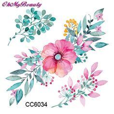 3D Flower Tattoo Decals Body Art Decal Pink Flower Waterproof Paper Temporary Tattoo