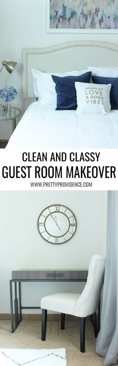 I am in love with this clean and classy guest room makeover! Definitely wanting a few of these pieces for my house! #SauderSpace #ad