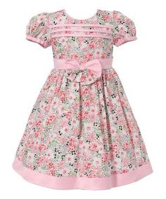 Another great find on Pink Floral Bow Puff-Sleeve Dress - Infant & Toddler by Richie House Frocks For Girls, Kids Frocks, Little Girl Outfits, Little Girl Fashion, Little Dresses, Little Girl Dresses, Kids Outfits, Kids Fashion, Toddler Fashion