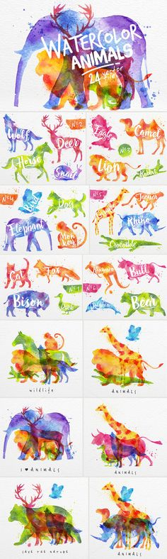 Watercolor Animals by Anna on Creative Market