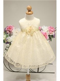 Attractive Ball Gown Knee-length Round-neck Lace Flower Girl Dress