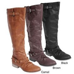like the way the boots bunch at the foot, but the camel color has a red zip up the back- don't really like that