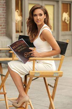 Cream heels and little white dress on Jessica Alba