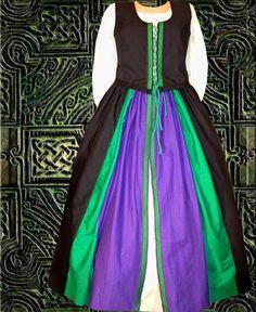 Renaissance Celtic Medieval SCA Garb BlackPurpleGreen Lined Bodice Overskirt 2Pc