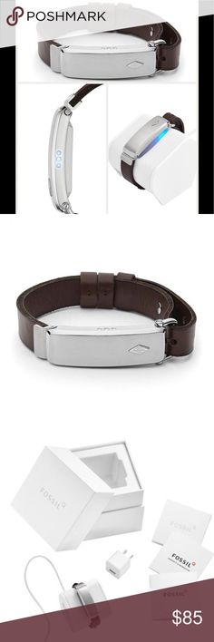 NWT Fossil Bluetooth Bracelet This sleek faceless smart bracelet uses Intel Innovation technology to track everything from steps to calories & alerts you to notifications on your compatible Android device or iPhone.  A supple leather strap adds a timeless touch to the modern design.  16mm case; 12mm band width; 240-280mm inner circumference.  Buckle closure.  Approx 5 day battery life.  Includes USB cord  with wall plug.  Compatible with Android devices 4.4.4 and higher, iPhone 5 and higher…
