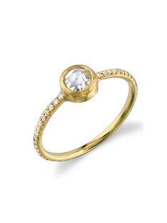 Rose Cut Diamond Stacking Ring - Yellow Gold