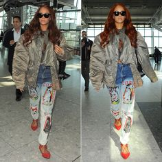 Rihanna wearing Come Tees Duppy Conqueror bleached jeans, Aquazzura Belgravia red suede sandals, Dominic Louis by Mandy Coon leather bunny backpack Rihanna Street Style, Street Style Shoes, Rihanna Outfits, Fashion Outfits, Fashion Trends, Casual Outfits, How To Make Shoes, How To Wear, Bleached Jeans