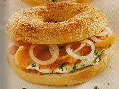 Recette cuisine fitness :Bagels au saumon frais et fromage frais -