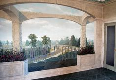 An English Garden. Straight from a Chicago Penthouse Apartment to England. Penthouse Apartment, Lobby Design, Mural Ideas, Alice In Wonderland, Chicago, England, Wallpaper, Garden, Painting