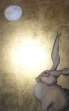 Hare listened to the moon. Could he hear her whisper to him? Long ears stretched up to catch the words falling from her through the sky. Watercolour with gold leaf. Jackie Morris.