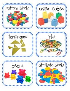 math manipulatives labels - kindergarten/maybe Kindergarten Fun, Preschool Math, Teaching Math, Math Activities, Teaching Ideas, Teacher Resources, Preschool Layout, Steam Activities, Math Manipulative Labels