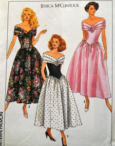 Vintage 1989 Sewing Pattern Simplicity 9558 Jessica McClintock Misses' Evening Dress Size 8-14 Bust 30-36 inches Uncut Complete by GoofingOffSewing on Etsy
