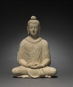 Seated Buddha, c. 300s Afghanistan, Gandhara, Hadda, late Kushan Period (1st century-320) stucco,